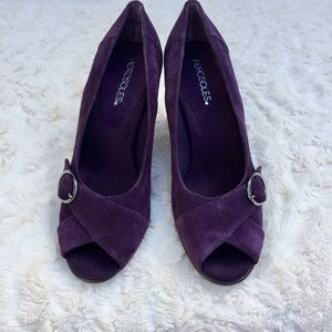 Aerosoles Geneva dark purple suede heels